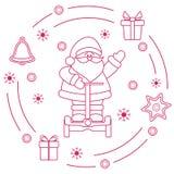 Święty Mikołaj, prezenty, dzwon, miodownik ilustracji