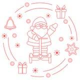 Święty Mikołaj, prezenty, dzwon, miodownik ilustracja wektor