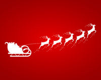 Święty Mikołaj przejażdżki w saniu w nicielnicie Obraz Stock