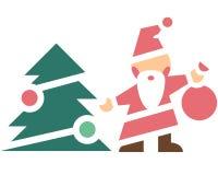 Święty Mikołaj przy choinką Obrazy Royalty Free
