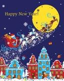Święty Mikołaj przychodzi miasto właśnie przynosił Christma Ilustracja Wektor