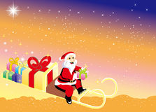 Święty Mikołaj przynosi Bożenarodzeniowych prezenty Zdjęcie Royalty Free