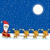 Święty Mikołaj renifera sanie Obrazy Royalty Free