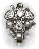 Święty Mikołaj rowerzysta Obrazy Royalty Free