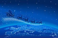 Święty Mikołaj sania Reniferowe Błękitne gwiazdy Zdjęcie Stock
