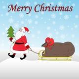 Święty Mikołaj sanie z prezentami jadącymi Zdjęcia Royalty Free