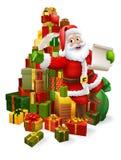 Święty Mikołaj Sprawdza Bożenarodzeniową prezent listy kreskówkę ilustracja wektor