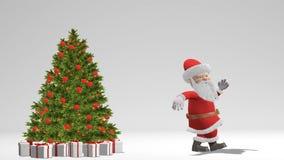 Święty Mikołaj taniec blisko choinki Pojęcie boże narodzenia i nowy rok Z alfa kanałem Bezszwowa pętla royalty ilustracja
