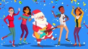 Święty Mikołaj taniec Z grupa ludzi I gitarą W rękach Mieć zabawę Przy Korporacyjnym biurem Przyjęcie gwiazdkowe plakat ilustracja wektor
