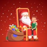 Święty Mikołaj trzyma małej uśmiechniętej chłopiec na jego podołku royalty ilustracja