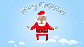 Święty Mikołaj uśmiechnięci i gratulujący Wesoło boże narodzenia Płaski projekt Powitanie karta z tekstów wesoło bożymi narodzeni zbiory wideo