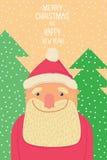 Święty Mikołaj uśmiechnięty tło choinki Zdjęcia Royalty Free