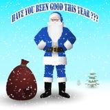 Święty Mikołaj w błękitnym kostiumu z torbą prezenty Ty byłeś dobry w tym roku? royalty ilustracja