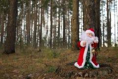 Święty Mikołaj w lesie Zdjęcia Royalty Free