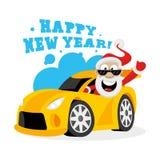 Święty Mikołaj w samochodzie Obrazy Royalty Free