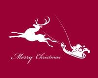 Święty Mikołaj w saniu z reniferem Obrazy Royalty Free