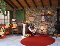 Święty Mikołaj warsztat, boże narodzenia, biegun północny Fotografia Stock