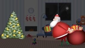 Święty Mikołaj wchodzić do dom z jego czerwony workowy pełnym prezenty wolno opuszczać na drzewie ilustracja wektor