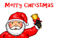 Święty Mikołaj Wesoło boże narodzenia Dzwoni Dzwonkowego Białego tło Fotografia Royalty Free
