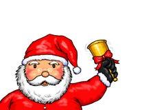 Święty Mikołaj Wesoło boże narodzenia Dzwoni Dzwonkowego Białego tło Zdjęcia Stock