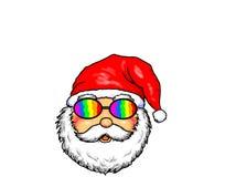 Święty Mikołaj Wesoło bożych narodzeń Homoseksualnej dumy bielu tło Fotografia Stock
