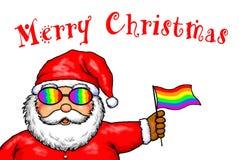 Święty Mikołaj Wesoło bożych narodzeń Homoseksualnej dumy tęcza Fotografia Stock
