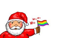 Święty Mikołaj Wesoło bożych narodzeń Homoseksualnej dumy tęcza Zdjęcie Royalty Free