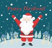 Święty Mikołaj wita someone scandinavian karta Boże Narodzenia i nowego roku charakter ilustracja wektor