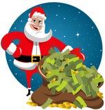 Święty Mikołaj worka pieniądze ilustracji
