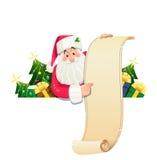 Święty Mikołaj z ślimacznicą i prezentem ilustracja wektor