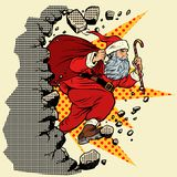 Święty Mikołaj z Bożenarodzeniowymi prezentami łama ścianę ilustracja wektor