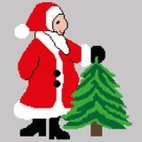 Święty Mikołaj, Święty Mikołaj z choinką rysującą w kwadratach, piksle Kartka Z Pozdrowieniami Szczęśliwy nowy rok również zwróci fotografia stock
