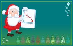 Święty Mikołaj z kartka bożonarodzeniowa negatywną mapą Zdjęcie Stock