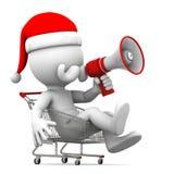 Święty Mikołaj z megafonem w wózek na zakupy ilustracji