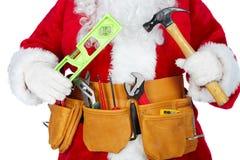 Święty Mikołaj z narzędziowym paskiem Zdjęcia Stock