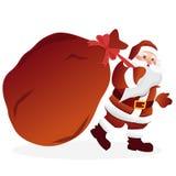 Święty Mikołaj z ogromną czerwoną torbą z teraźniejszość również zwrócić corel ilustracji wektora royalty ilustracja