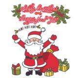 Święty Mikołaj z ona ręki podnosić w powitaniu Ilustracyjna kartka z pozdrowieniami z tekstem royalty ilustracja