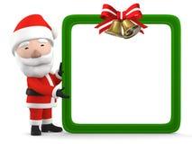 Święty Mikołaj z pustą białą deską, 3D ilustracja ilustracji