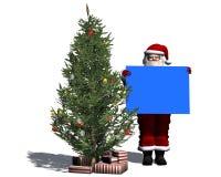Święty Mikołaj z pustym plakatem w błękicie Fotografia Stock