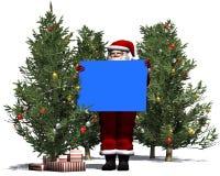 Święty Mikołaj z pustym plakatem w błękicie Zdjęcia Stock
