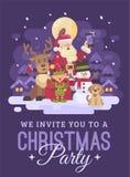Święty Mikołaj z reniferem, elfem, bałwanem i psem bierze selfie w śnieżnym nocy zimy wioski krajobrazie, Bożenarodzeniowy zapros ilustracji