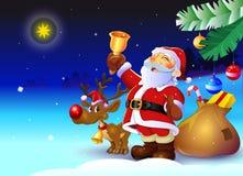 Święty Mikołaj z reniferem i teraźniejszość Zdjęcia Stock