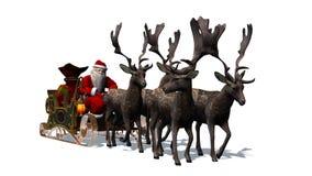Święty Mikołaj z saniem i reniferem Obraz Royalty Free