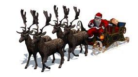 Święty Mikołaj z saniem i reniferem Zdjęcia Stock