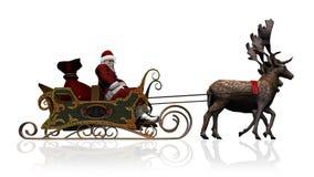 Święty Mikołaj z saniem i reniferem Zdjęcie Royalty Free