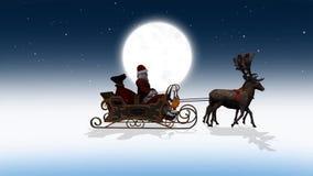 Święty Mikołaj z saniem i reniferem przechodzi obok, z literowaniem, bez pisać list i na zieleń ekranie, dodatkowo ilustracja wektor