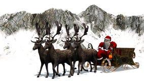 Święty Mikołaj z saniem i reniferem przed górami Obraz Stock