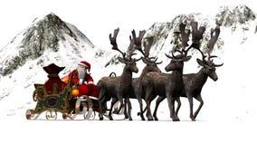 Święty Mikołaj z saniem i reniferem przed górami Fotografia Stock