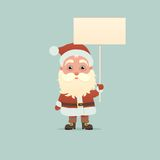 Święty Mikołaj z signboard Obrazy Stock