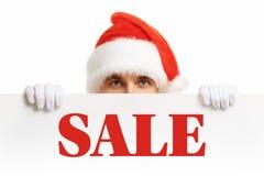 Święty Mikołaj z sztandaru sprzedażami Fotografia Royalty Free